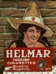 Antique Helmar Cigarettes Pictorial Post Mount Double Enamel Sign