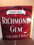 Classic Smoke Richmond Gem [mint]  Enamel Sign..