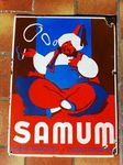 Early SAMUM Cigarette Paper Pictorial Advertising Enamel Sign.