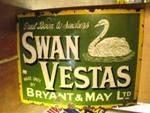 Large Antique Swan Vestas Matches Enamel Sign