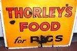 Antique Thorleys Pig Food Enamel Sign.
