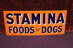Classic Stamina Dog Food Enamel Advertising Sign.
