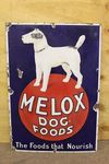 Early Melox Dog Foods Pictorial Enamel Sign.