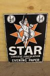 Vintage Star News Papers Pictorial Enamel Sign.