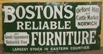 Bostons Furniture Enamel Advertising Sign. #