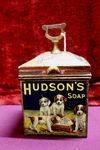 Antique Hudson`s Soap Pictorial String Tin.#