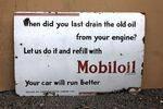 Mobiloil Script Enamel Advertising Sign.#