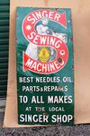 Singer Sewing Machine Advertising Enamel Sign.#