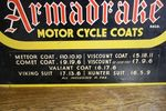 Armadrake Motor Cycle Coats Hard Board Sign Arriving Nov