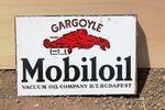 Mobiloil Gargoyle Post Mount Enamel Sign.#