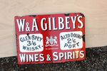 W&A Gilbeys Wines & Spirits Enamel Sign.#