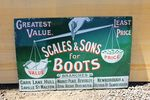 Antique Scales & Sons Boots Enamel Advertising Sign.#