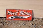 Wood Milne Shoeshines Enamel Sign .#