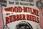Antique Wood Milne Rubber Heels Pictorial Enamel  Sign