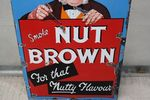 Early Smoke Nut Brown Pictorial Enamel Advertising Sign Arriving Nov