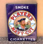 Players Navy Cut Pictorial Double Sided Post Mount Enamel Sign.#