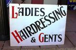 Early Hairdressing Double Sided Enamel Sign..