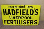 Antique Hadfields Fertilisers Farming Enamel Sign