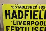 Antique Hadfields Fertilisers Farming Enamel Sign.