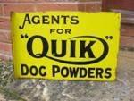 Quik Veterinary Dog Powders Enamel Post Mount Sign
