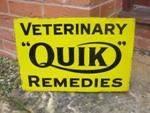 Quik veterinary dog powders enamel post mount sign.----SM52c