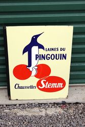 French Penguin Pictorial Post Mount Enamel Sign.#