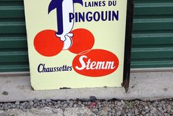 French Penguin Pictorial Post Mount Enamel Sign