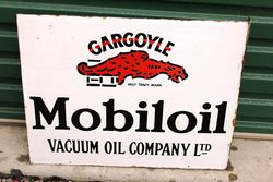 Mobiloil Gargoyle Post Mount Enamel Sign.#