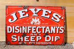 Antique Jeyes Disinfectant And Sheep Dip Enamel Sign.#