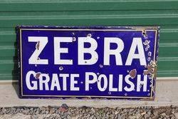 Zebra Grate Polish Enamel Advertising Sign.#