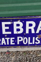 Zebra Grate Polish Enamel Advertising Sign