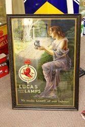 Framed Lucas Lamps Advertising Poster.#