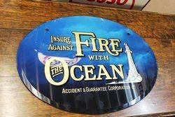 Ocean Insurance Glass Advertising Sign.#