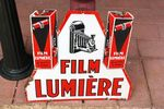 Vintage Lumiere Film Double Sided Enamel Sign.#