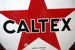 ARRIVING SOON Caltex Round Enamel Advertising Sign