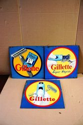 Set of 3 Gillette Shaving Tin Signs #