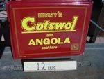 Binny`s Cotswol + Angola Fabrics sold here enamel sign