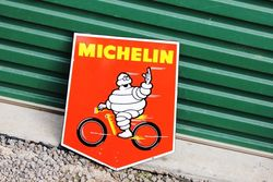 A Rare Small Michelin Cycles Pictorial Shield Enamel Sign.#