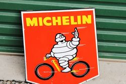 A Rare Small Michelin Cycles Pictorial Shield Enamel Sign