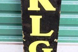 KLG Spark Plugs Vertical Enamel Sign