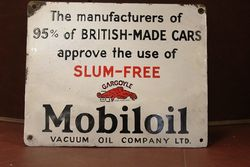 Mobiloil Gargoyle Enamel Advertising Sign #