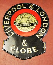 Liverpool and London and Globe Embossed Tin Advertising Sign