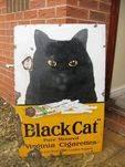Antique Black Cat Enamel Sign,