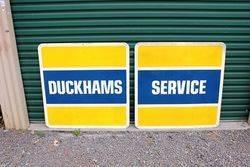 2 Piece Duckhams Service Tin Sign.#