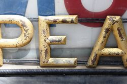 Embossed Pearl Tin Sign On Cast Bracket
