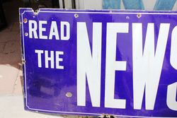 Large News Of The World Enamel Advertising Sign
