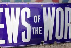 Large News Of The World Enamel Advertising Sign