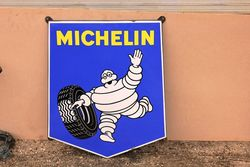 Classic Michelin Shield Pictorial Enamel Sign.#