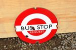 Bus Stop Round Enamel Sign .#