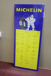 Genuine Michelin Tin Tyre Chart.#